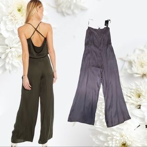 SILVER MEDIUM CHASER CROSS BACK COWL NECK JUMPSUIT
